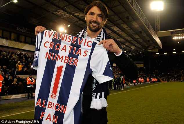 No 1 fan: Tennis legend Goran Ivanisevic was presented with a special Baggies shirt at the Hawthorns
