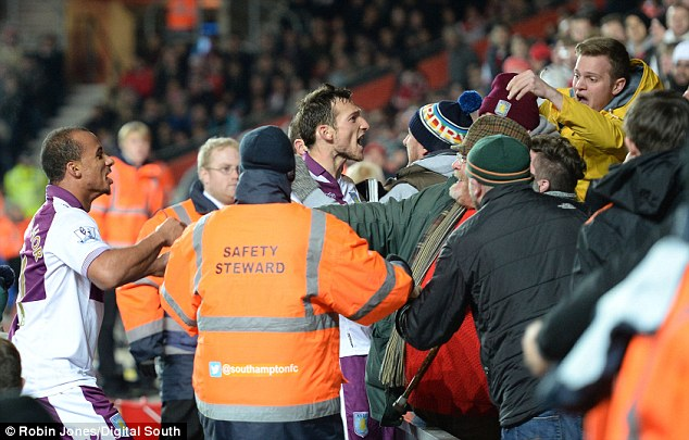 Face in the crowd: Forward Libor Kozak ran into the Aston Villa support following his goal against Southampton