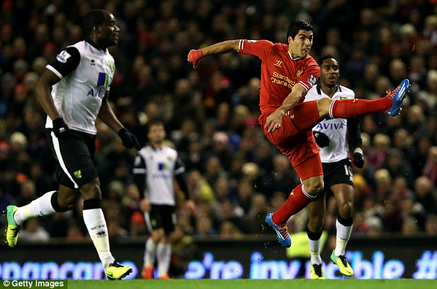 What a hit, son! Suarez was on fire against Norwich and got his name on the scoresheet four times