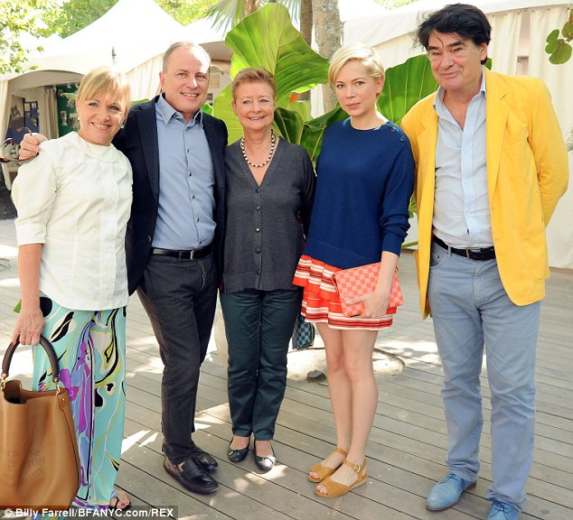 An interesting bunch: Michelle posed with (L-R) Brigitte and Michael Burke, Pernette Perriand and Jacques Barsac