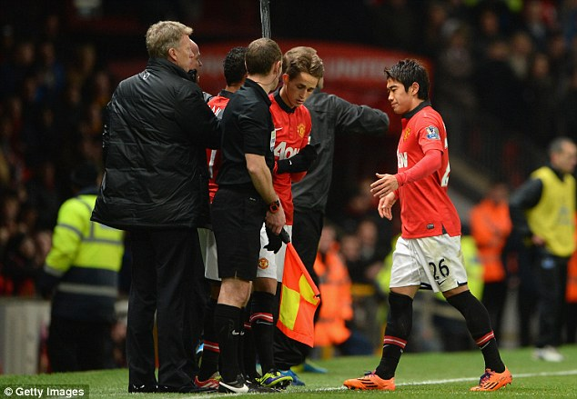 Taken off: Shinji Kagawa was substituted after 58 minutes of Man United's 1-0 defeat to Everton
