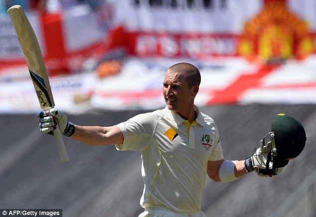 Acknowledgment: Australian batsman Brad Haddin celebrates making his century