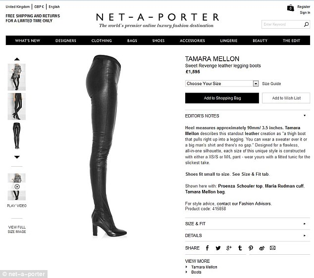 The legging boots are being sold on high-end fashion site, Net-a-porter
