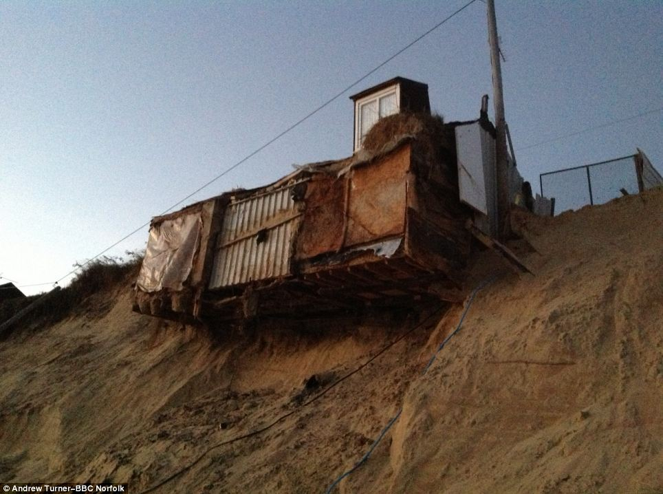 The houses collapsed when the cliff on which they were built disintegrated under the force of the raging storm tide which swept across the area on Thursday night
