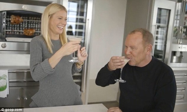 Festive tipples: The actress and designer, who sip a cocktail in the video, have been friends for nearly two decades and have long been discussing the possibility of a collaboration