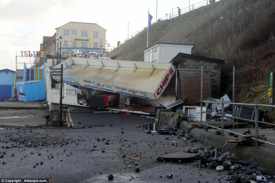 Devastation: Buildings around Cromer beach were destroyed in last night's storm