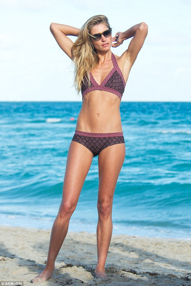 Sunkissed: Jessica was back on the beach on Saturday for another bikini shoot in Miami