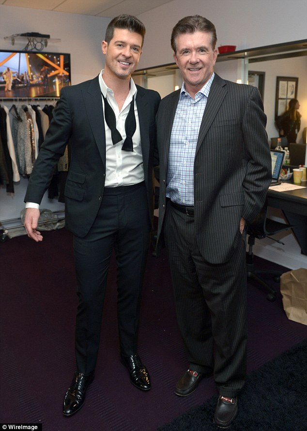 It's hard to tell who's prouder! The star posed with his famous father, actor Alan Thicke, backstage at the event