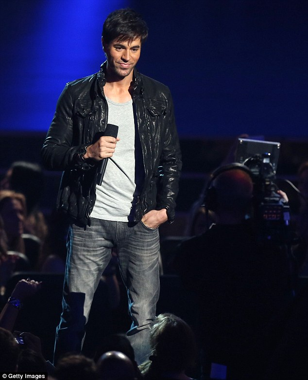 Ready to roll: Enrique Iglesias helped announce the 2014 nominees, looking sexy in jeans and a leather jacket
