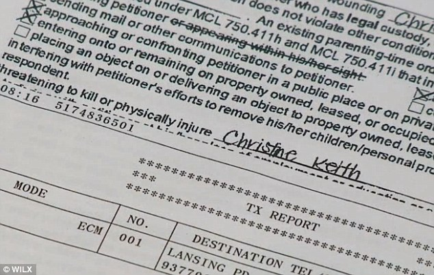 Violent past: Christine Keith wrote had filed a petition for a personal protection order against her estranged husband Randy Keith