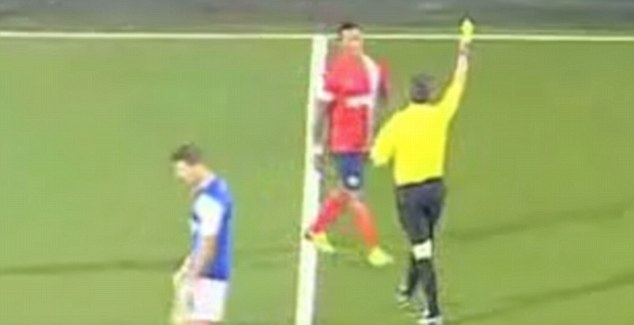 Yellow: Campbell was booked for the challenge in Blackburn's 3-1 defeat