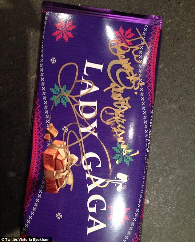 Memento: Victoria posted an image of a chocolate bar Gaga had signed for them on her Twitter page