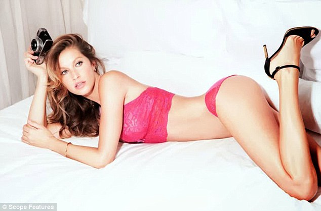 Lace loving: Gisele flaunted her amazing body in promotional shots for her new lingerie line Gisele Intimates