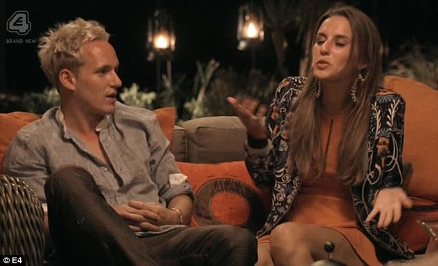 Lucy Watson does her impression of Bryan Ferry singing Do The Strand ('it's the new wayyyyy') as she and Jamie try to blend in with the furniture by wearing - and being - orange