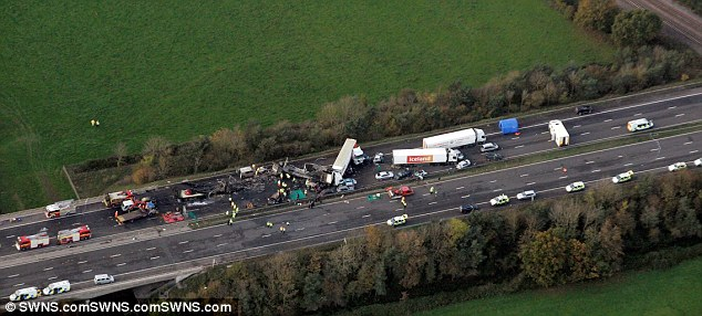 Tragedy: The M5 in Somerset on November 5 2011, the day after the fireworks display designed by Geoffrey Counsell, who was cleared of any wrongdoing yesterday