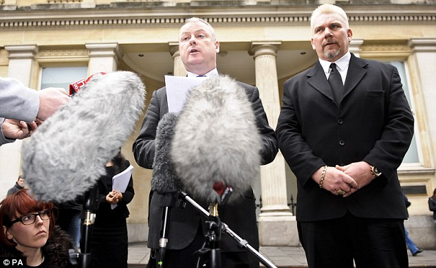 Message: Fireworks contractor Geoffrey Counsell, 51, (right) with a member of his legal team, Gavin Reese (centre), who said the authorities who agreed to the display then sought to blame his client