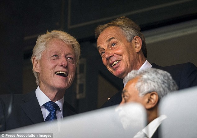 Animated: Former U.S president jokes with ex-British prime minister Tony Blair