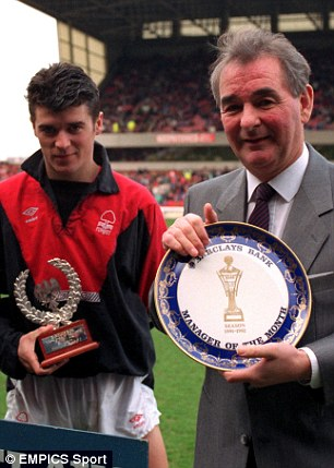 Roy Keane and his manager Brian Clough at Nottingham Forest