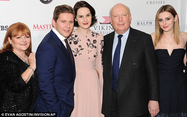 Branson's pickle: Allen Leech was between a rock and a hard place as he posed between Lesley and Michelle