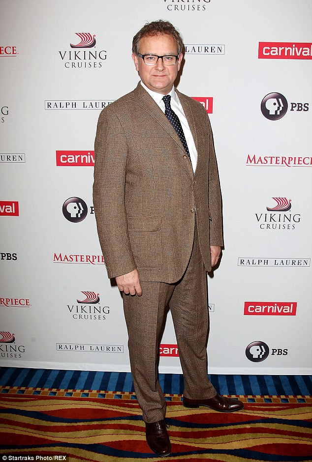 What a spectacle: Hugh Bonneville looked dapper at the season four cast photo call