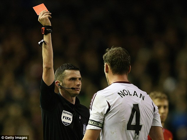 Dismissed: Kevin Nolan will serve a three-match ban after being sent off in the defeat by Liverpool