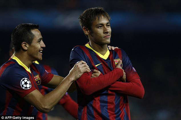 Who's the man? Neymar celebrates after scoring three goals in just 13 minutes in front of his home fans