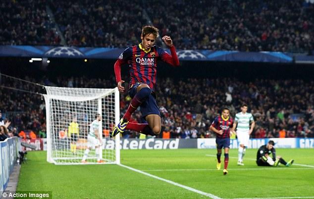 In the air: Barcelona's Brazilian forward Neymar celebrates scoring a hat trick at the Nou Camp