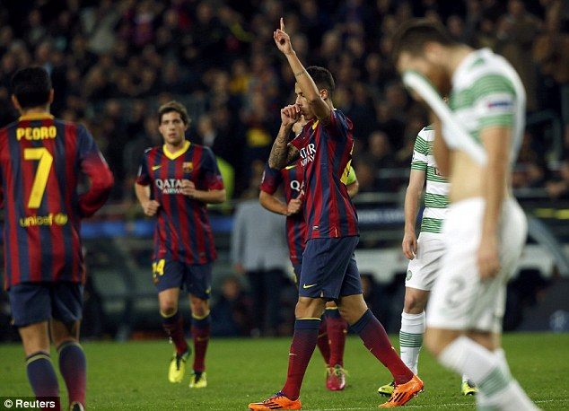 Rout: Tello (centre) celebrates after scoring Barcelona's sixth goal against the Glasgow side