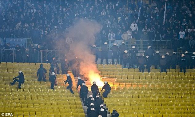 Zenit fans: Russian fans riot during the UEFA Champions League game between Austria Vienna and Zenit St Petersburg