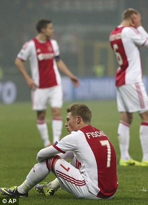 Ajax forward Viktor Fisher, bottom, of Denmark, sits on the pitch after a Champions League, Group H, soccer match between AC Milan and Ajax