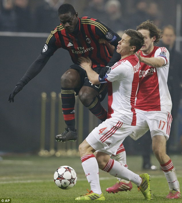 Action man: Mario Balotelli was in the thick of the action throughout the goalless draw