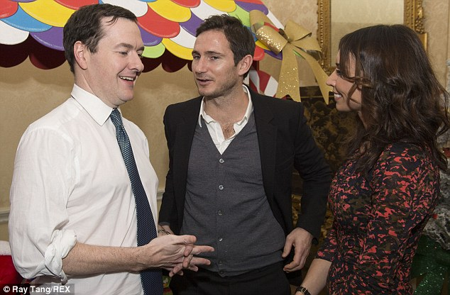 Third place: Chelsea's Frank Lampard, pictured with the Chancellor of the Exchequer and fiancee Christine Bleakley, has a net worth of £29m