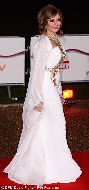 Grecian goddess: The former Countdown whiz was one of the stars to grace the red carpet outside London's National Maritime Museum