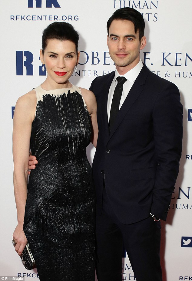 Handsome couple: The Good Wife star was accompanied by her husband Keith Lieberthal to the event