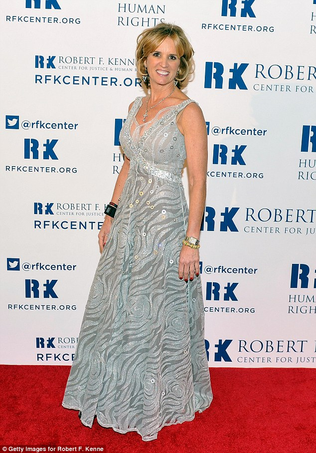 Pure elegance: Kerry, 54, looked regal in a floor-length silver grey dress
