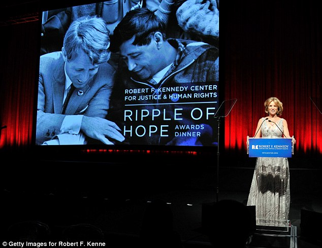 Doing her dad proud: Kerry was seen speaking during the event, which was inspired by a speech her father RFK