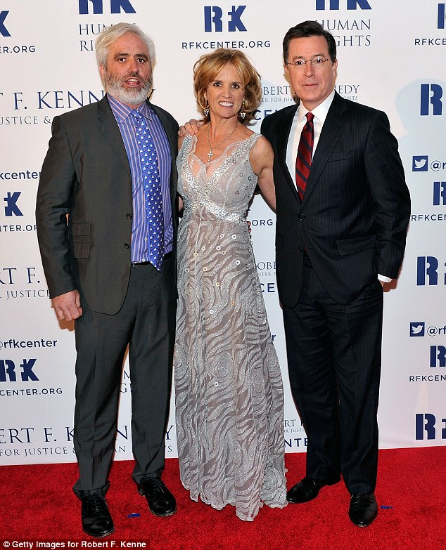 Sibling love: Kerry posed with another brother Max and honoree Stephen Colbert