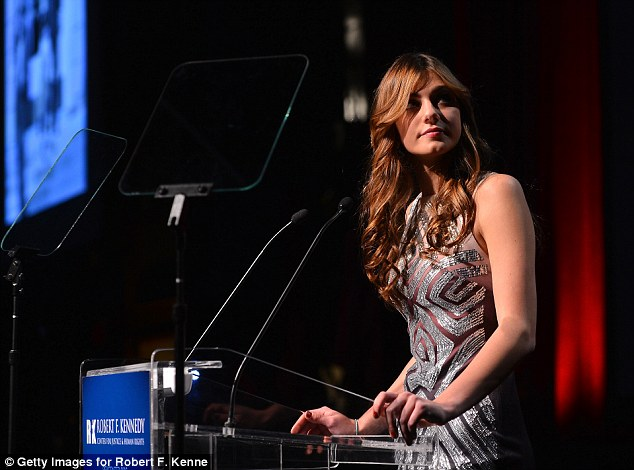 True beauty: The 16-year-old dazzled in a silver frock as she spoke during the event, which honours leaders who have pushed for social change