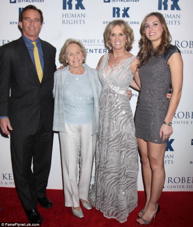 Good genes: RFK's widow posed with son Robert and Kerry and granddaughter Mariah at the event