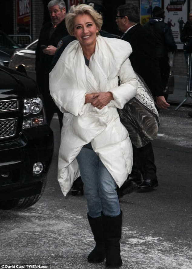 Making her entrance: Emma Thompson arriving to The Late Show With David Letterman in New York, on Wednesday