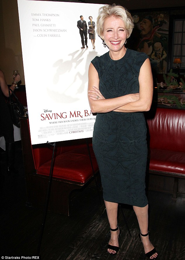 Having a laugh: Later that night the British actress was at a screening for her new film Saving Mr Banks