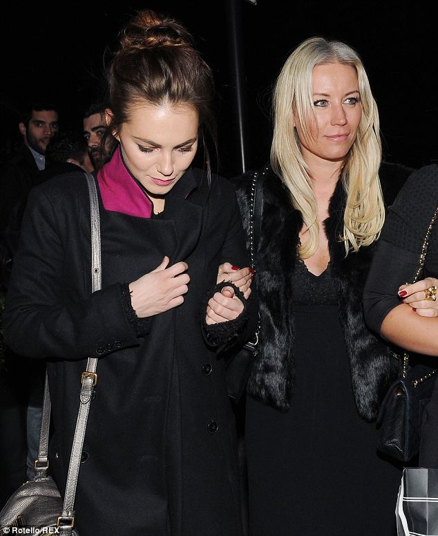 Girls' night out: Kara Tointon was seen leaving Kitsch at Embassy with Denise Van Outen