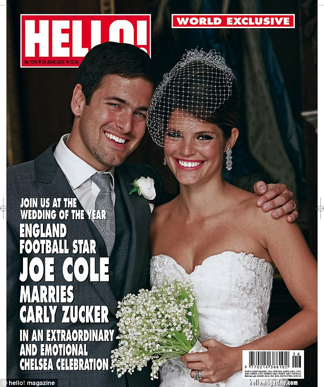 Surprise name: Hello! Magazine paid £2m for exclusive photos of Joe Cole and Carly Zucker's wedding - but the West Ham man donated the fee to charity
