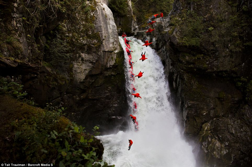 White water kayaker Ben Marr and skier Rory Bushfield executed the death-defying stunt at the Mamquam Falls in Squamish, Canada