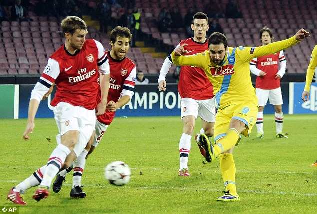 On strike: Napoli's Gonzalo Higuain (right) almost put Arsenal out of the Champions League altogether