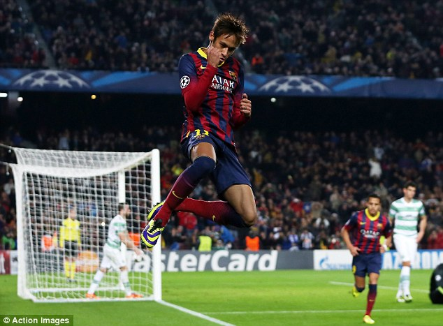 Jumping for joy: Brazilian £50million star Neymar is just coming into form for Barcelona