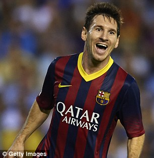 Looming: Will either of the English sides get Barcelona, armed with Lionel Messi?