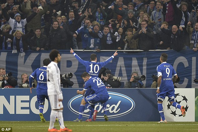 On target: Draxler scored against FC Basle to send Schalke into the knockout stages of the Champions League