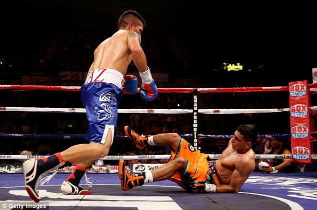 Fighting back: Khan was also knocked down by Julio Diaz but recovered to win on points last April