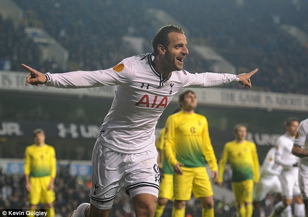 Double: Soldado scored his first goals from open play at White Hart Lane for Spurs